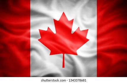 Canada flag of silk -3D illustration