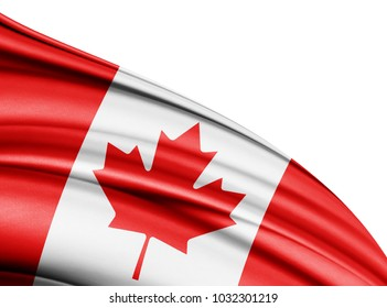 Canada   flag of silk with copyspace for your text or images and white background-3D illustration