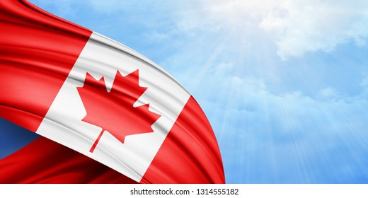 Canada flag of silk with copyspace for your text or images and sky background-3D illustration