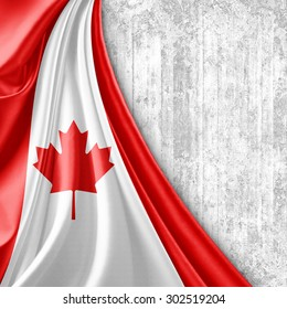 Canada  flag of silk with copyspace for your text or images and wall background