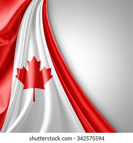 Canada  flag of silk  with copyspace for your text or images