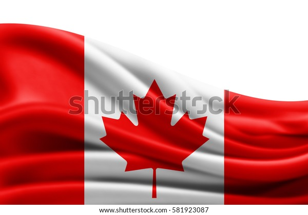 Canada flag of silk with copyspace for your text or images and white background -3D illustration