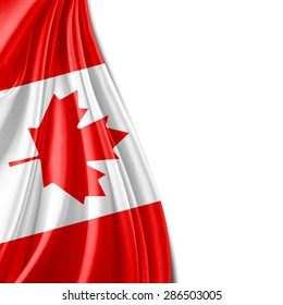 Canada flag of silk and white background
