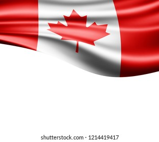 Canada flag of silk and white background-3D illustration