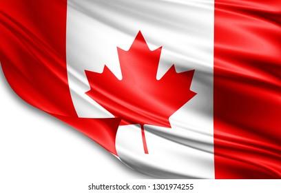 Canada flag of silk-3D illustration