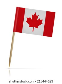 canada flag toothpick on white background