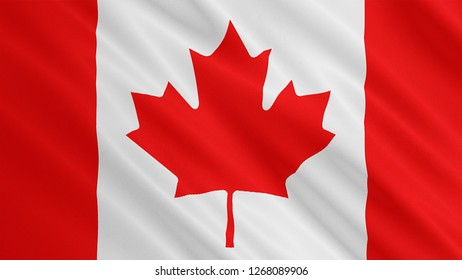 Canada flag is waving 3D illustration. Symbol of flag on fabric cloth 3D rendering.