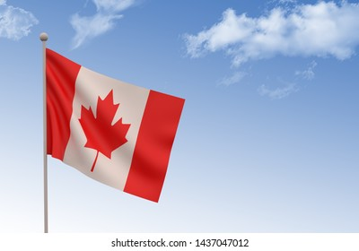 Canada Flag Waving with blue sky 3d illustration, Canada day concept, 3d render,