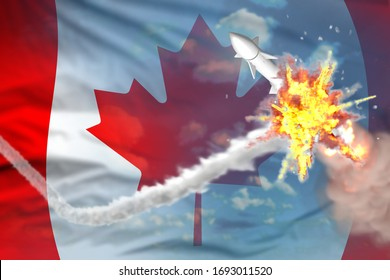 Canada intercepted supersonic warhead, modern antirocket destroys enemy missile concept, military industrial 3D illustration with flag