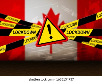 Canada lockdown preventing coronavirus spread or outbreak. Covid 19 canadian precaution to lock down virus infection - 3d Illustration