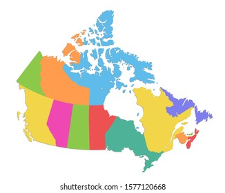 Canada map, administrative division, separate individual states, color map isolated on white background blank raster
