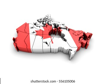 Canada map with flag on white background. 3d render.