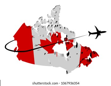 Canada map flag with plane silhouette and swoosh 3d illustration