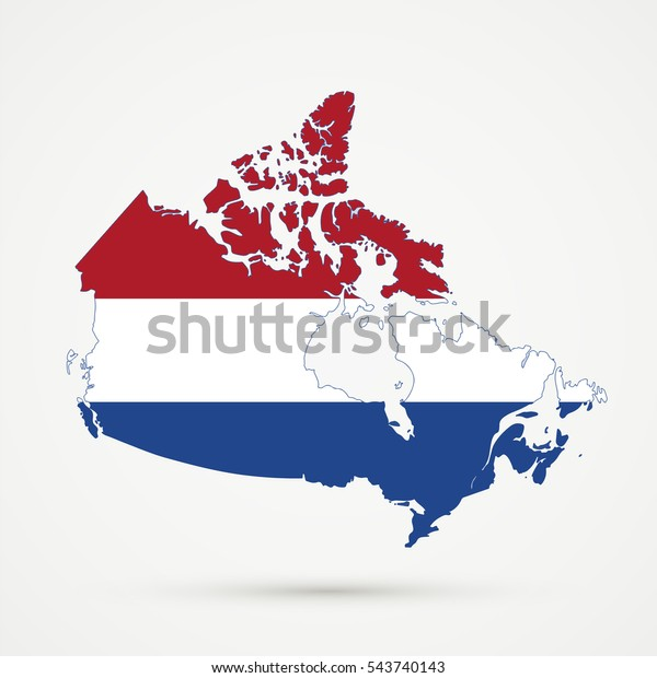 Canada Map Netherlands Flag Colors Stock Illustration 543740143 on map of the states and canada, map of the west coast and canada, map of the americas and canada,