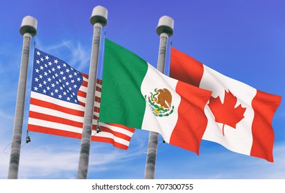 Canada, Mexico and US Flags over blue sky, conceptual image for Nafta agreement (3D rendered image)