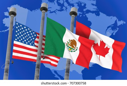 Canada, Mexico and US Flags over north america map, conceptual image for Nafta agreement (3D rendered image)