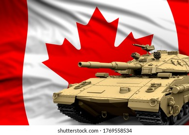 Canada modern tank with not real design on the flag background - tank army forces concept, military 3D Illustration