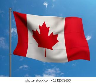 Canada national flag on blue sky background.