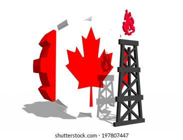 canada national flag on gear and 3d gas rig model near