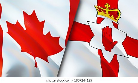 Canada and Northern Ireland flags. 3D Waving flag design. Canada Northern Ireland flag, picture, wallpaper. Canada vs Northern Ireland image,3D rendering. Canada Northern Ireland relations alliance