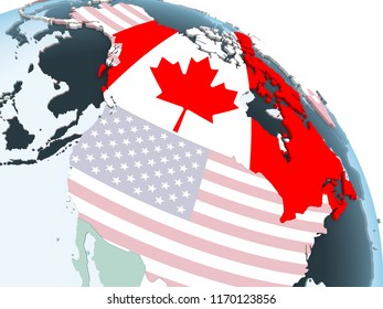 Canada on bright political globe with embedded flag. 3D illustration.