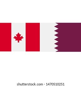 Canada and Qatar Partnership - Illustration, Icon, Logo, Clip Art or Image for Sport, Cultural or State Events. Celebrating Cooperation Day
