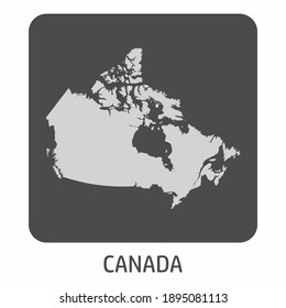 The Canada silhouette map icon on dark box