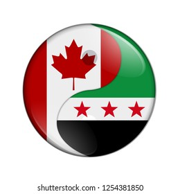 Canada and Syria working together, The Canadian flag and Syrian flag on a yin yang symbol isolated over white 3D Illustration
