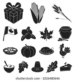 Canada Thanksgiving Day black icons in set collection for design. Canada and Tradition bitmap symbol stock web illustration.