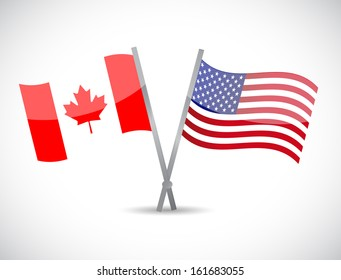 canada and us partnership concept illustration design over white