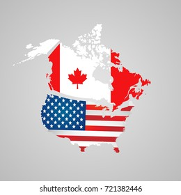 Canada, USA map, flags. North American country set with map pointers