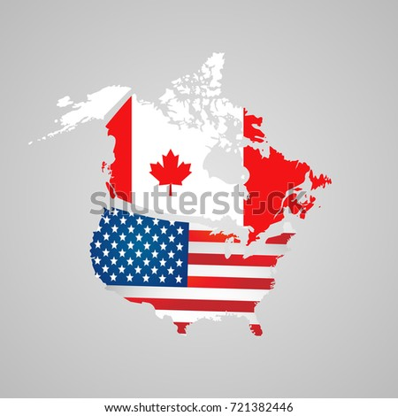 Canada USA Map Flags North American Stock Illustration 721382446 ...