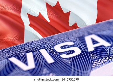Canada visa document close up, 3D rendering. Passport visa on Canada flag. Canada visitor visa in passport. Canada multi entrance visa in passport. Close up of document and passport