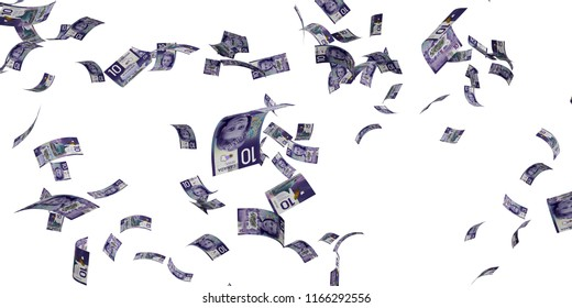Canadian 10 dollar banknotes - High resolution 3d render Isolated on white background