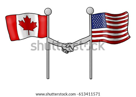 f1f6a90b439 Canadian American Flags Shaking Hands Stock Illustration 613411571 ...