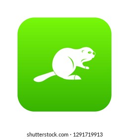 Canadian beaver icon digital green for any design isolated on white illustration