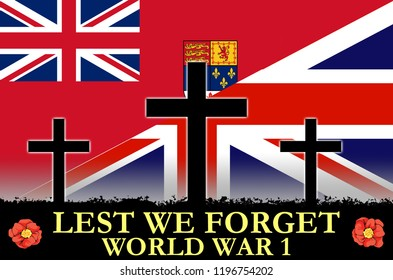Canadian and British flags on a World War 1 banner. War scene of crosses in sihlouette. Original digital illustration.