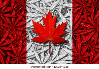 Canadian cannabis concept and Canada marijuana law social issue as medical and recreational weed icon as a red maple leaf on a background of pot leaves in a 3D illustration style.