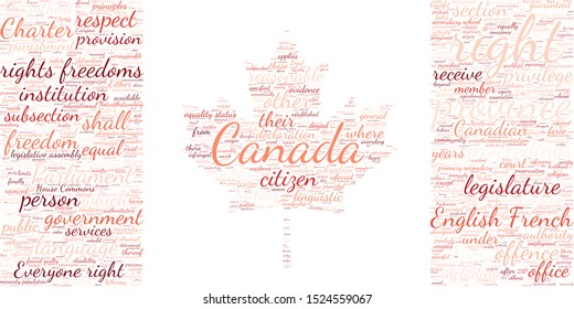 Canadian Charter of Rights and Freedoms most common words inside a shape of the Canadian Flag