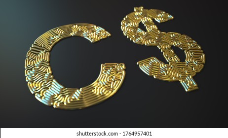 Canadian dollar sign made with gold wire, 3d rendering