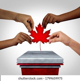 Canadian election with diverse hands casting a Canada vote for federal elections for a prime minister or provincial members of parliament as hands holding a maple leaf 3D illustration elements.