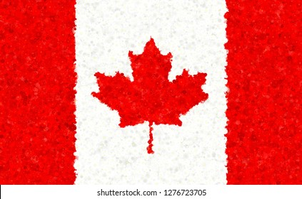 Canadian flag with blossom motives