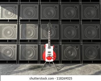 Canadian flag electric guitar