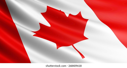 Canadian flag fluttering in wind.