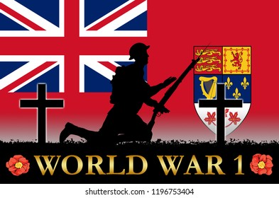 Canadian Flag on a World War 1 banner. War scene with circa 1915 soldier uniform silhouettes. Original digital illustration.