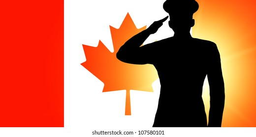 The Canadian flag and the silhouette of a soldier's military salute