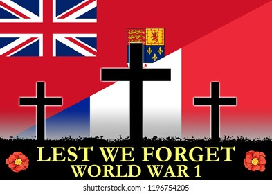 Canadian and French flags on a World War 1 banner. War scene of crosses in sihlouette. Original digital illustration.