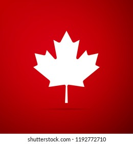 Canadian maple leaf icon isolated on red background. Canada symbol maple leaf. Flat design