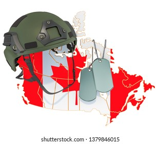 Canadian military force, army or war concept. 3D rendering isolated on white background