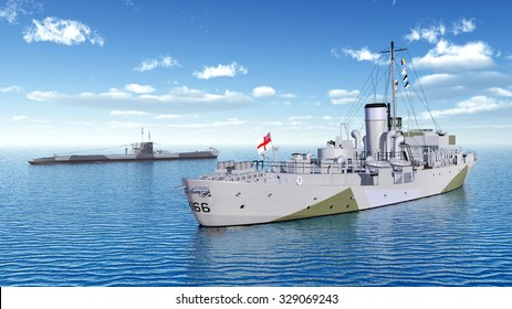 Canadian military ship and German submarine of World War II Computer generated 3D illustration